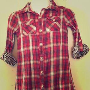 Girls tunic length plaid button shirt